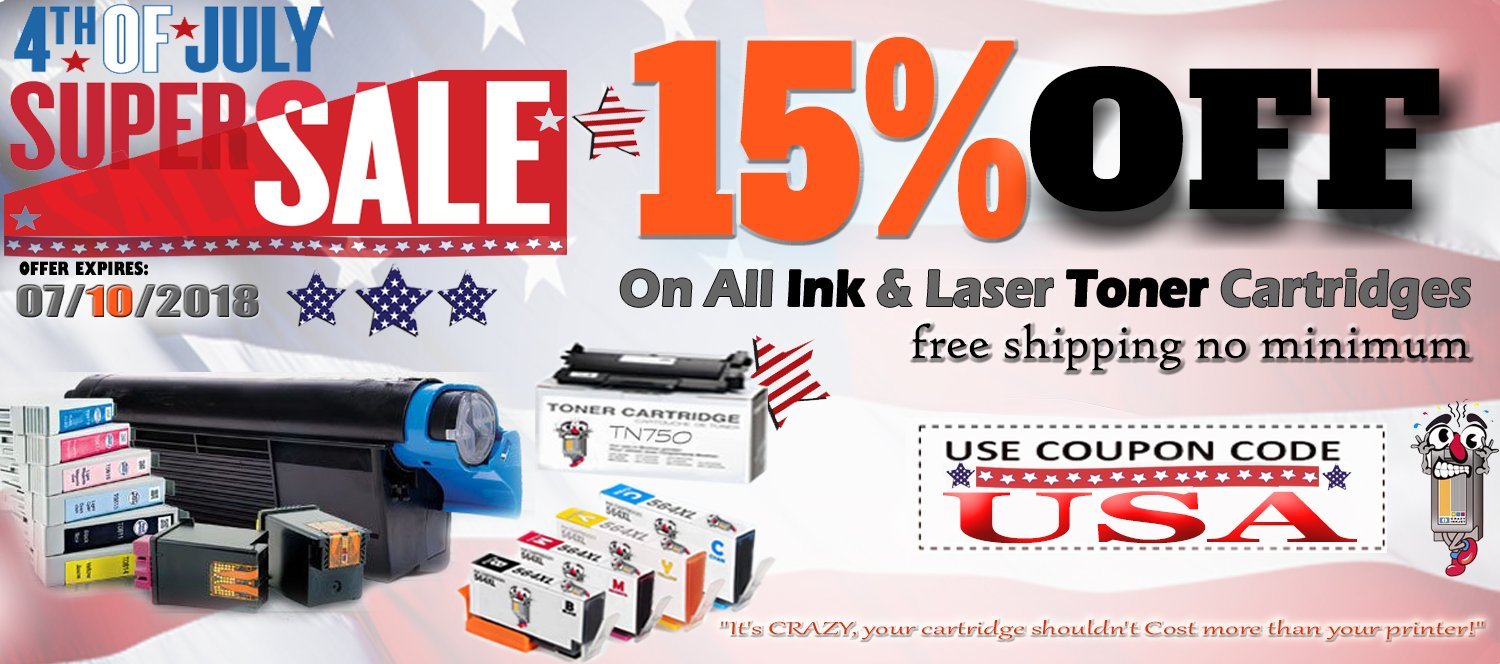 4th of July Sale Printer Ink laser toner Get Additional 15% OFF