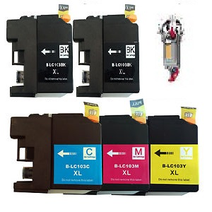 5 Piece Bulk Set Remanufactured Brother LC103 Ink Cartridges