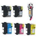 5 Piece Bulk Set Remanufactured Brother LC61 Ink Cartridges