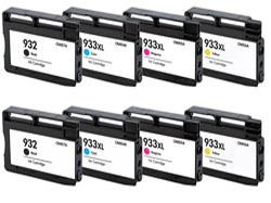 8 Piece Bulk Set Remanufactured Hewlett Packard HP932XL / HP933XL Ink Cartridges