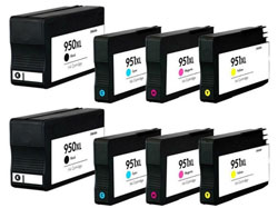 8 Piece Bulk Set Remanufactured Hewlett Packard HP950XL / HP951XL Ink Cartridges